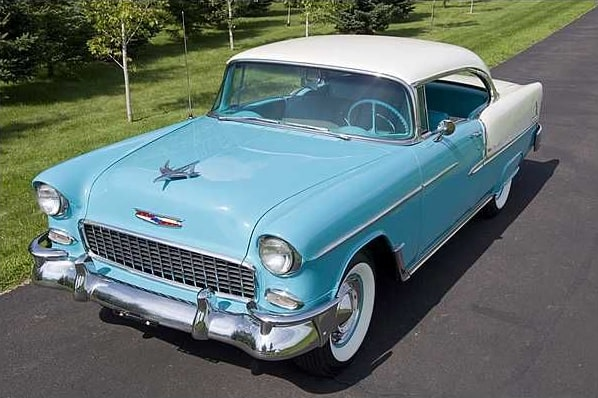 1955 bel air 2 door baby blue
