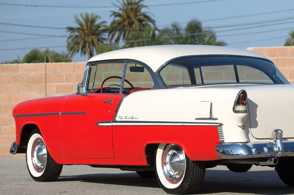 red and white 2 door 1955 bel air